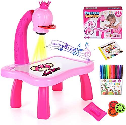 zwr Mesa de pintura de proyección para niños, traza y dibujo, para hacer bocetos, proyector, escritura, tablero de dibujo y juguetes educativos para niños de 3 años (con música) (color rosa
