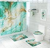 JZZCIDGa Goldgrün Treibsand Badematte Set 4-Teilige Badematte U-Förmige Konturmatte Duschvorhang Toilettensitzbezug Badematte Anti Slip