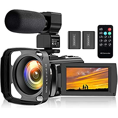 Video Camera Camcorder YouTube Vlogging Camera Recorder FHD 1080P 24.0MP 3.0 Inch 270 Degree Rotation Screen 16X Digital Zoom Camcorder with Microphone,Remote Control,Lens Hood and 2 Batteries from Boctrol