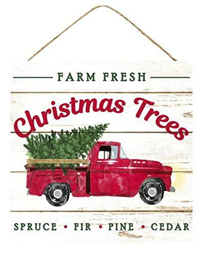 Craig Bachman 10' Wooden Sign: Farm Fresh Christmas Trees Christmas Decor Vintage Red Truck Wall or Door Hanger AP8343
