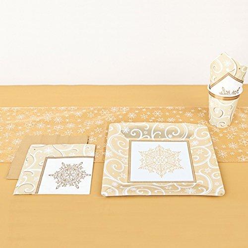 Amscan glinsterende tafelloper met geborduurde sneeuwvlokken, goud
