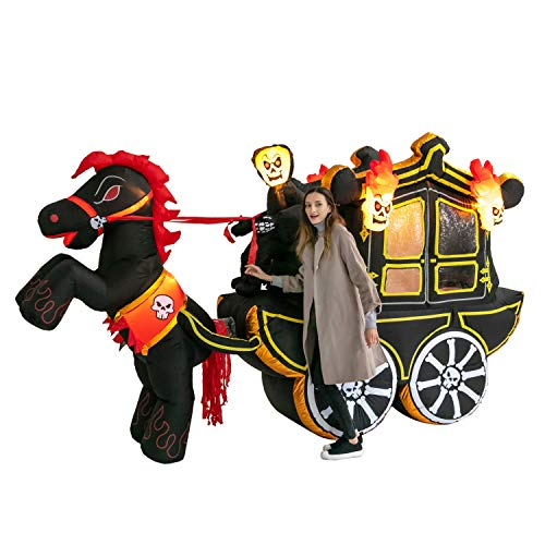 Joiedomi 12 ft Long Carriage Halloween Inflatable with Build-in LEDs Blow Up Inflatables for Halloween Party Indoor, Outdoor, Yard, Garden, Lawn Decorations