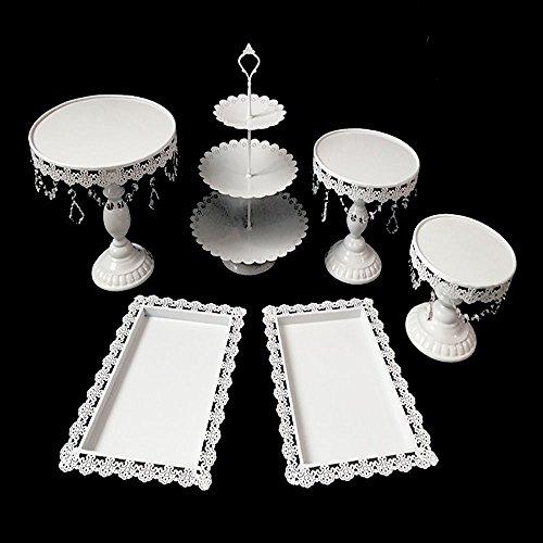 SHIOUCY Vintage Rund Tortenständer Kristall Kuchenteller Tortenplatte Kuchenplatte Tortenständer Vintage Kristall Party Kuchenteller (6 Stück)