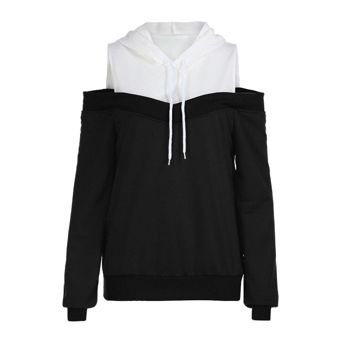 意義武器首SakuraBest レディースファッションオフショルダーロングスリーブパーカースウェットシャツ