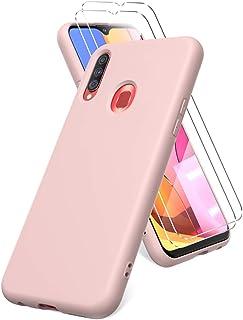 Oududianzi Fodral till Samsung Galaxy A20s, skärmskydd i härdat glas, mjukt TPU flytande silikonfodral, stöttåligt silikon...