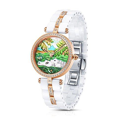 Time100 Orologio ceramica donna bianco serie di animale#W50352L.03A (Ippopotamo)