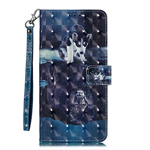 Galaxy S8 Hülle, CAXPRO® Leder und TPU Innere Brieftasche Handyhülle, Flip Ledertasche mit Standfunktion & Kartensfach für Samsung Galaxy S8, Hunde Löwe