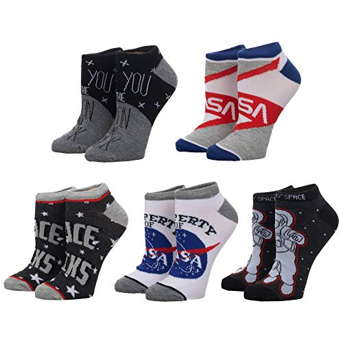 Bioworld - NASA - NASA and Space Themed Ankle Socks 5-Pack (Sock Size 9-11, Shoe Size 5-8 Men)