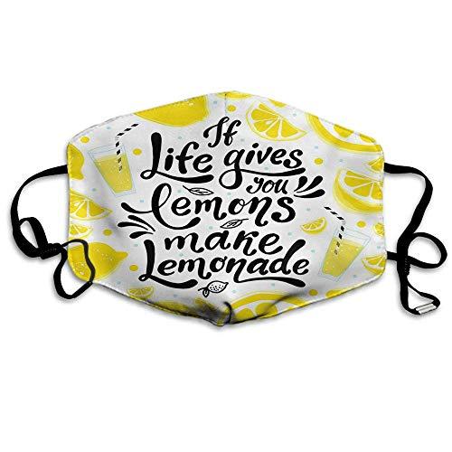 Motivierende Zitat Mundabdeckung Wenn das Leben Ihnen Zitronen gibt, Machen Limonade Stoff Mundabdeckung Unisex Gelb Weiß Schwarz
