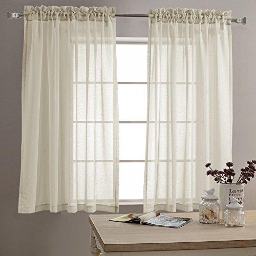 TOPICK Sheer Vorhang mit Stangendurchzug transparent Gardinen 2 Stücke Gaze paarig Fensterschal Vorhänge 160 cm x 140 cm (H x B),2er-Set,Nature