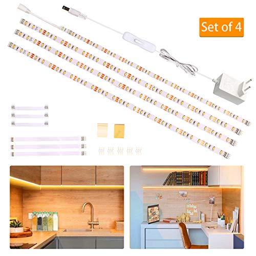 Wobsion LED Unterbauleuchte Schrankleuchte,Heller Lichtleiste mit Schalter,LED-Küche unter Schrankbeleuchtung,Vitrinen,Küchenlampen 12V Adapter 1100 LM 2700K 2m warmweiß,Energieklasse A+,4er Set