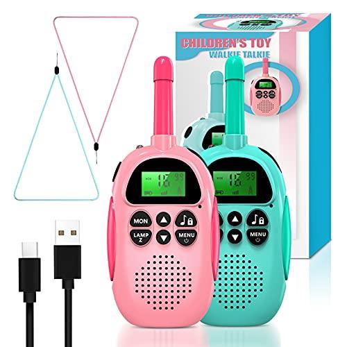Ukuu Walkie Talkie para Niños Bateria USB Recargable 16 Canales Función VOX Rango de 3KM con Linterna, Navidad Regalos...