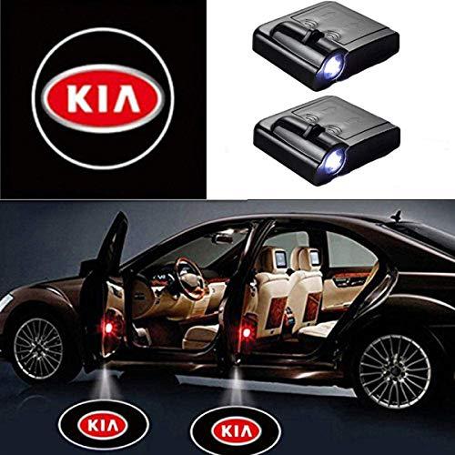 AllRing 2 Stück Drahtlose Autotür führte Willkommen Laser Projektor Logo Licht Geist Schatten Lampe Logos (KIA)
