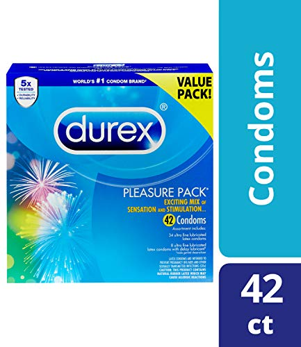 Condoms, Natural Latex Condoms, Durex Condom Pleasure Pack Assorted Condoms, 42 Count  An Exciting Mix of Sensation and Stimulation, HSA Eligible