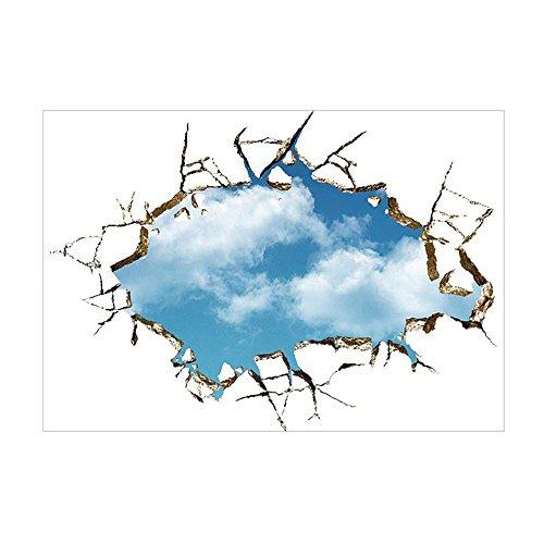 SYT Wall Stickers Vivid Creative 3D fenêtre Trou Paysage Bleu Ciel Blanc Nuage Maison Sticker Mural Autocollant pour Maison Salon Toit Autocollants Autocollants