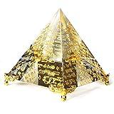 AXAYINC 80mm K9 Crystal Pyramid Figurine Collectible Gold-Plated Decoration. (Word Pyramid)