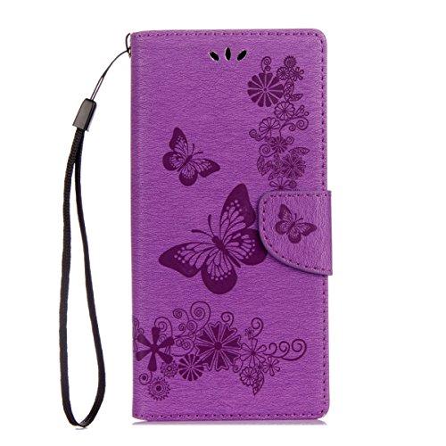 ISAKEN Sony Xperia XA1 Hülle, PU Leder Flip Cover Brieftasche Ledertasche Handyhülle Tasche Case Schutzhülle mit Handschlaufe Strap für Sony Xperia XA1 - Schmetterlinge Blumen Lila