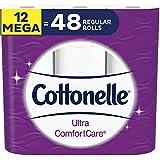 Cottonelle Ultra Comfortcare Lot de 12 rouleaux de papier toilette doux 12 méga rouleaux (48 rouleaux simples)