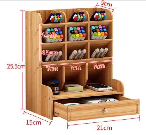 Organizadores de escritorio, soporte de lápiz de oficina de madera, bandeja de escritorio de almacenamiento multifunción