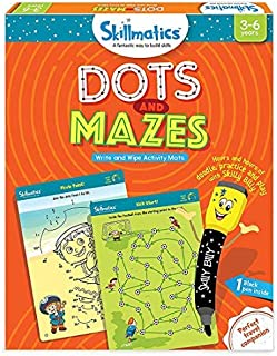 Skillmatics Educational Game: Dots and Mazes (3-6 Years)   Erasable and Reusable Activity Mats   Learning Tools for Kids   Travel Friendly Toys