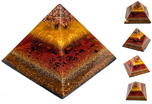 Premium Shungite Orgonite Pyramid - Orgone Generator & EMF Protection Orgone Pyramid with Healing and Energy Crystals – Violet Flame Orgone