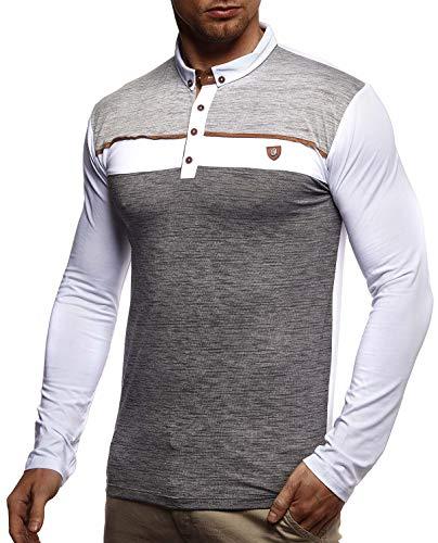 Leif Nelson Herren Polo-Shirt Langarmshirt Slim Fit Baumwolle-Anteil Basic Männer Longsleeve Pulli weißes Sweatshirt Poloshirt Pullover T-Shirt Langarm LN4805 Weiß Medium