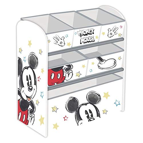 Familie24 Holz Spielzeugregal Micky Maus Jungenregal Kinderregal Organizer Mickey Mouse