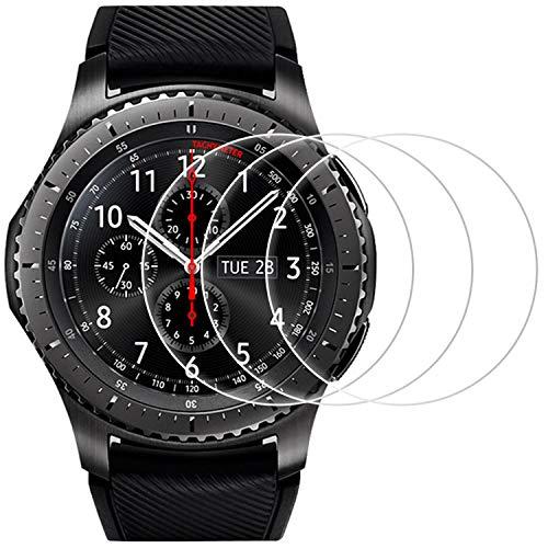 Fotech [3 Stück] Panzerglasfolie für Samsung Galaxy Watch 46mm / Samsung Gear S3 Frontier und Gear S3 Classic und, 9H Härte, Anti-Kratzer, Anti-Öl, Anti-Bläschen,2.5D