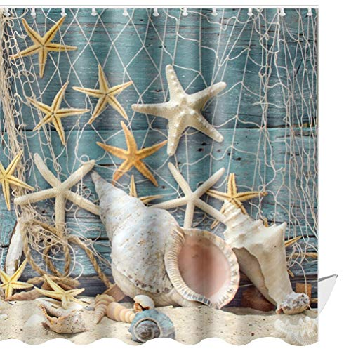 ABxinyoule Beach Shower Curtain Set Conch Starfish Shell Fabric Bathroom