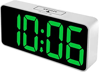 DreamSky 8.9 Inches Large Digital Alarm Clock with USB Charging Port, Fully Adjustable Dimmer, Battery Backup, 12/24Hr, Snooze, Adjustable Alarm Volume, Bedroom Alarm Clocks (White Case + Green Digit)