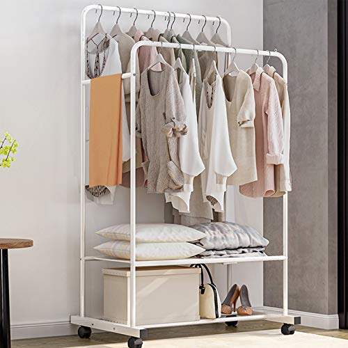Untyo Clothes Rack with Wheels Double Rails Clothing Rack Rolling Rack for Indoor Bedroom Clothes Rack Max Load 110LBS White Shelf on Wheels