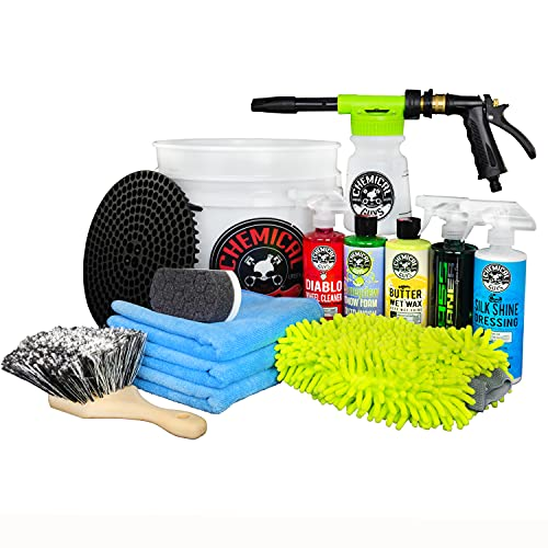 Chemical Guys HOL126 14-Piece Arsenal Builder Car Wash Kit with Foam Gun, Bucket and (5) 16 oz Car Care Cleaning Chemicals (Works w/Garden Hose)