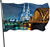 LZHANDA Garten Flaggen Flagge Fahne, Garden Flag Cologne Cathedral Hohenzollern Bridge Outdoor Yard Flag Wall Lawn Banner Home Flag Decoration 3' X 5'