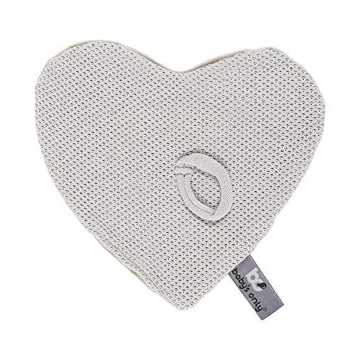 BO Baby's Only - Schnullertuch - Herzförmige Nuckeltuch aus Baumwolle mit Teddystoff - 20x20 cm - für Jungen und Mädchen - Silbergrau
