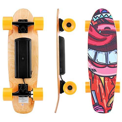 WOOKRAYS Elektrisches Skateboard mit Funkfernbedienung Elektro Skateboard -20km/h High Speed E Skateboard Longboard für Erwachsene & Jugendliche