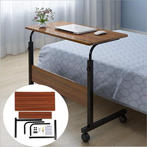 mcglobal 80 x 40 cm marrón mesa de ordenador portátil escritorio móvil ajustable soporte de trabajo estudio perezoso hogar oficina