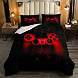 Boys Gamer Comforter Set Queen Size,Gamepad Bedding Set Kids Young Man Video Games Down Comforter for Teen Child Game Room Decor Black Red Classic Retro Gaming Quilted Duvet Set with Pillowcase