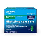 Amazon Basic Care Nite Time Cold & Flu Relief Softgels, Pain Reliever, Fever Reducer, Cough Suppressant & Antihistamine, 48 Count