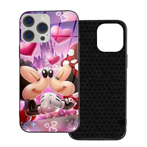 Funda para iPhone 12 Mickey Mouse y Minnie Anti-Huellas Compatible con iPhone 12, Adecuado para iPhone 12 Pro 6.1/Max 6.7 Funda de vidrio ultrafino linda y duradera