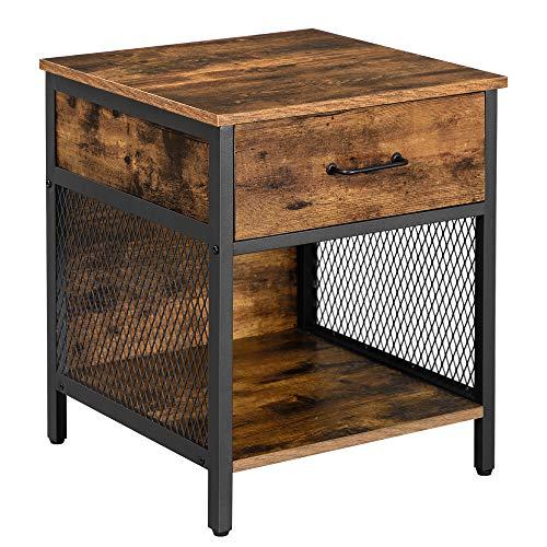 VASAGLE Nachttisch, Nachtkommode, Beistelltisch mit 1 Schublade und 1 offenem Ablage, Stahlrahmen, 45 x 45 x 55 cm, für Schlafzimmer, Wohnzimmer, vintagebraun-schwarz LET058B01
