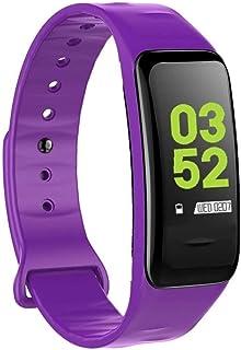 Gymqian Fitness Tracker Smart Fitness Tracker/Smart Pulsera, C1Plus Deporte Pulsera Podómetro Pedómetro Pulsera Inteligente, Pulsera para Niños Mujeres Sport Fitness Tracker Exquisito/Púrpur