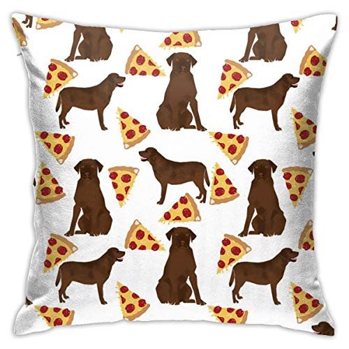 Funda de almohada CVDGSAD con diseño de labrador de chocolate y pizza, 45,7 x 45,7 cm, fundas de almohada estándar