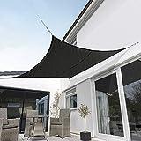 Kookaburra Toldo Vela Negro Impermeable 160g/m² Poliéster Protección Solar 98% Anti UV para Exteriores, Patios, Jardines, Terraza, Balcón (Cuadrado 3,0m)
