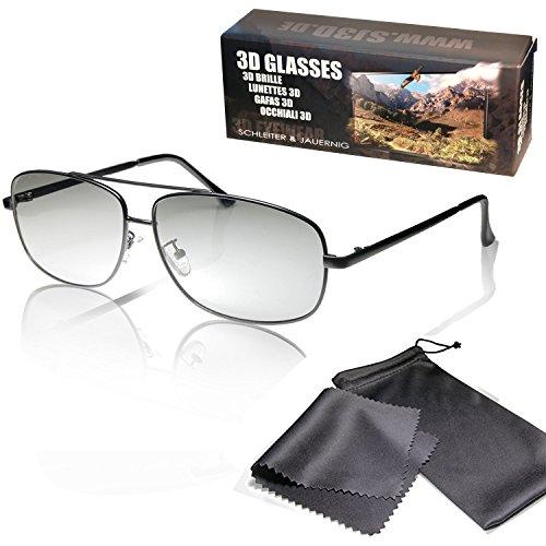 SJ3D Passive 3D Brille – Fliegerbrille / Pilotenbrille matt schwarz - Polfilterbrille zirkular polarisiert - Für RealD 3D Kino und TV: LG Cinema 3D Philips Easy 3D Telefunken Toshiba 3D Natural Vizio 3D & 3DTVs von SONY Gr&ig Panasonic Hisense CMX uvm. - Inkl. Mikrofaser Brillenbeutel & Putztuch