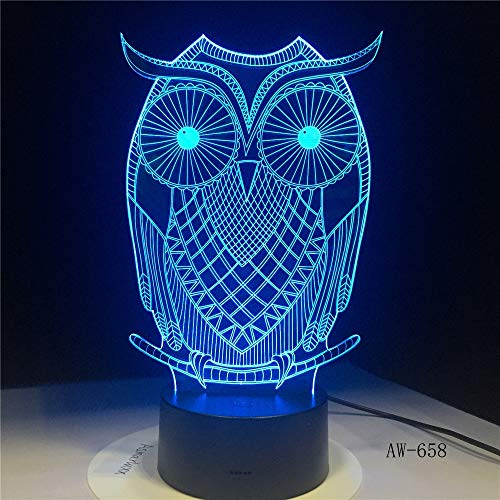 Jiushixw 3D acryl nachtlampje met afstandsbediening kleurverandering tafellamp schattige uil desktop kunst kinderkamer vakantie party geschenk slaapkamer ronde verchroomde tafellamp