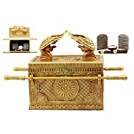 """Ebros Matte Gold Holy Ark of The Covenant with Ten Commandments Rod of Aaron and Manna Religious Decorative Figurine Trinket Box Collectible Judaic Israel Historic Model Replica (1:5 Scale 9.5"""" Long)"""