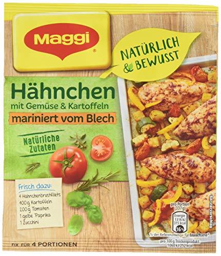 Maggi Fix&Frisch Hähnchen mit Gemüse und Kartoffeln mariniert vom Blech, 22er Pack (22 x 27 g)