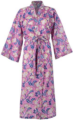 100% Katoenen Jurken voor Vrouwen & Mannen, Lichtgewicht Zomer Kimono Badjassen, Biologisch geteeld, Ethisch Gemaakt. One Size Fits EU 38-46 (Pink Floral)