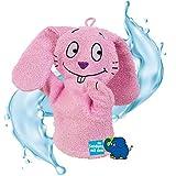 Smithy Waschhandschuh Handpuppe aus 100% Baumwolle – Öko Tex 100 zertifizierter Waschlappen in pink mit Original pinker Hase von Die Sendung mit dem Elefanten