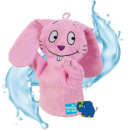 Smithy Waschhandschuh Handpuppe aus 100{e084623977320ac6014ec51d48a7dd2a021bb39d9ec80781eeb0eb6670101cc4} Baumwolle – Öko Tex zertifizierter Waschlappen blau mit Original blauer Elefant von Die Sendung mit der Maus (Pink)